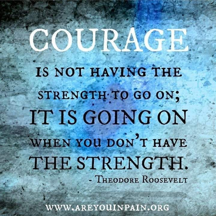 Image may contain: text that says 'COURAGE IS NOT HAVING THE STRENGTH-T TO GO ON; IT IS GOING ON WHEN YoU DON'T HAVE THE STRENGTH. THEODORE ROOSEVELT WWW.AREYOUINPAIN.ORG'